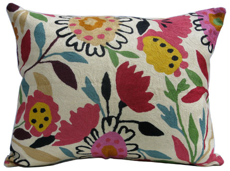 """Mums and Asters"" designer pillow from the Kim Parker Home collection"