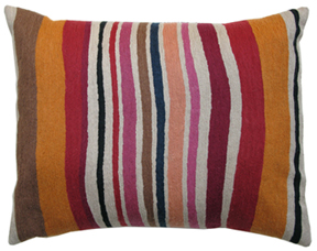 Cantaloupe Stripe designer pillow from the Kim Parker Home collection