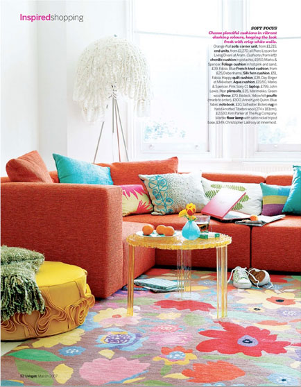 """Bolero"" designer rug from the Kim Parker Home collection is featured in LIVING ETC., one of  the U.K's bestselling lifestyle publications"