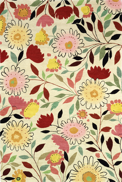 """Mums and Asters"" designer rug from the Kim Parker Home collection. Copyright 2004 Kim Parker. All rights reserved."